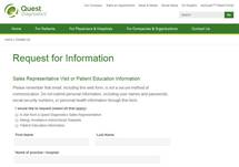 Request for Information: Sales rep visit or patient educational information